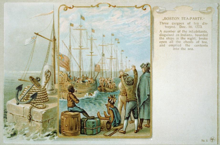 A 1903 reproduction of a 1789 engraving of the Boston Tea Party.